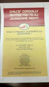 My friend Shannon helped organize a local Chili's Benefit for RB.