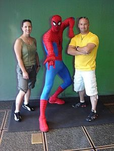 Robot Dad and I with Spidey at Universal Studios Orlando.