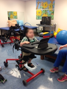 RB in the physical therapy gym at CHNOLA. He will he receive a stander similar to this one.